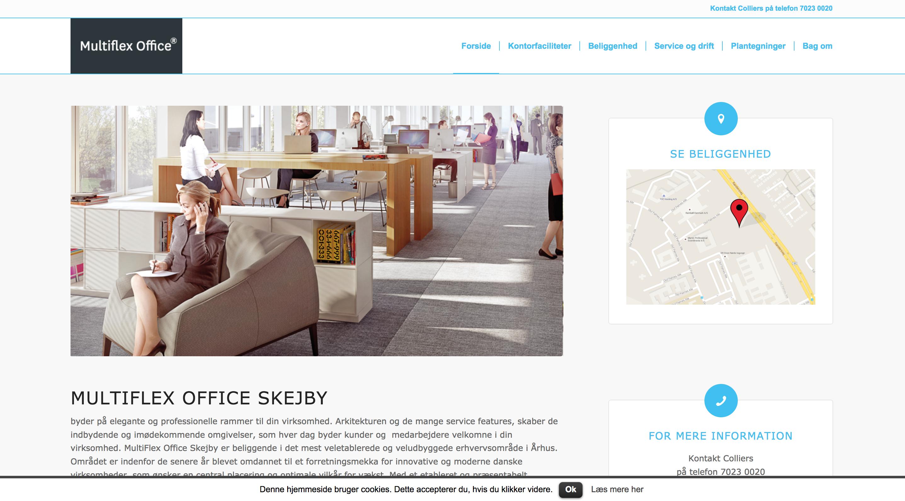 MTHøjgaard Multiflexofficeskejby - wordpress website til salg af kvadratmeter i nyt byggeri.