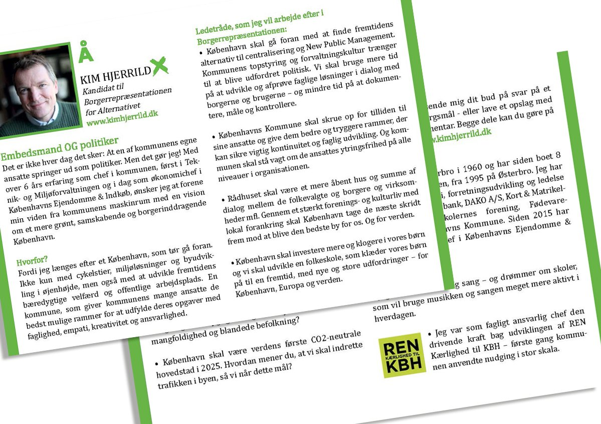 Layout Af Flyer Til Handout For Kim Hjerrild, Kandidat For Alternativet